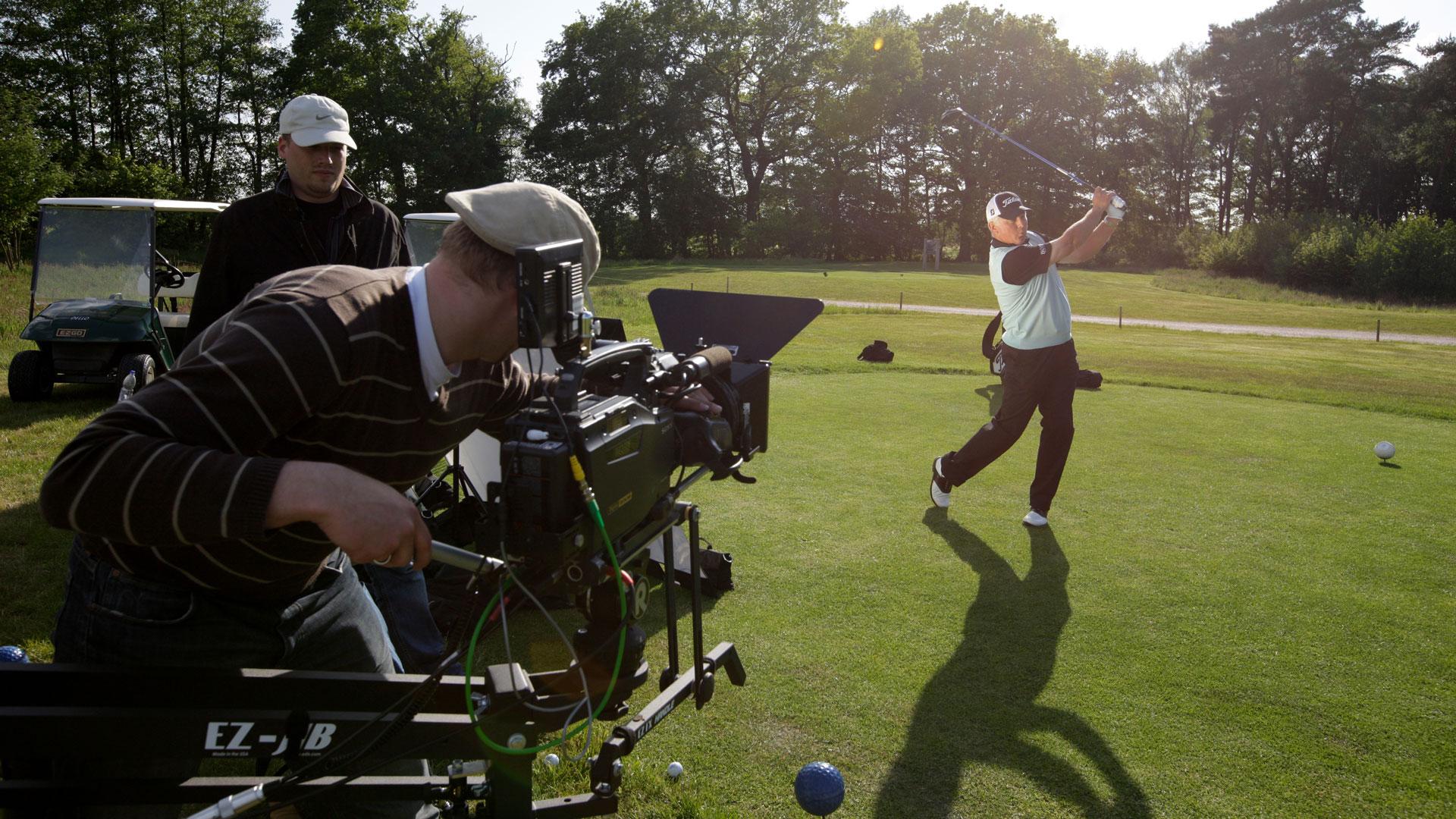 Dreharbeiten auf einem Golfplatz